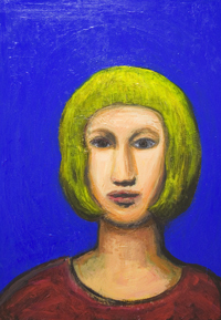 Parisienne with a bob haircut : contemporary female figurative portrait painting,  expressionism, primary colors, brilliant cobalt blue background, colorful naive portrait acrylic painting #7339,2008 | Kazuya Akimoto Art Museum