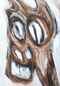 Angry Brown Horse : New, extreme, ultra, radical expressionism, horse, equine, animal symbolism, rough brush stroke pattern, distortion, deforme, distorted horse face, manga, anime, pop art style, facial expression, facial abstraction, acrylic painting #7347, 2008 | Kazuya Akimoto Art Museum
