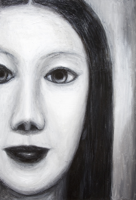 Japanese Female Vampire : New, black and white, contemporary new Japonisme, Japanese young woman surrealist facial portrait painting, surreal realism, contemporary mythological realism, contemporary chiaroscuro style, sfumato, human face symbolism, eerie facial expression, black and white female monster theme� surrealism, acrylic painting # 7389, 2008 | Kazuya Akimoto Art Museum
