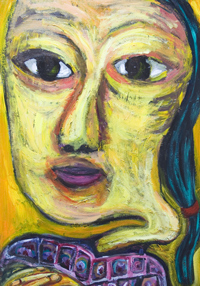 Dreaming Chinese Girl with her fingers interlaced : new,facial expressionism, distorted, distortion, deforme female face portrait painting, facial expressions, Asian, Chinese, woman bust, acrylic painting #7440, 2008 | Kazuya Akimoto Art Museum