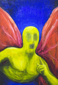 Yellow Angel, asking you a riddle : New contemporary angel theme, yellow color symbolism painting, primary colors, red, yellow,  blue, color symbolism, abstract human figure, celestial being, figurative, holy, sacred, religious symbolism, strange, odd image, colorful surrealism, surreal realism, acrylic painting #7456, 2008 | Kazuya Akimoto Art Museum