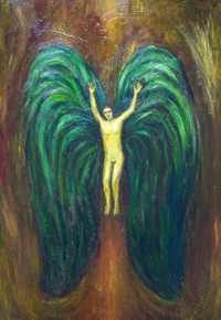 Lucifer with green wings falling from Heaven  : New biblical theme, contemporary Christian theme religious, naive symbolism painting, Satan, demon, fallen angel portrait, old testament, hell theme, acrylic painting # 7503, 2008 | Kazuya Akimoto Art Museum