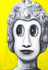 New Age Buddha : New, anime, manga 3d style, religious Japanese pop art Buddha portrait painting, gray, grey, grisaille, sfumato, yellow color symbolism, contemporary Japonism human portrait, holy, sacred, Asian, religious symbolism acrylic painting #7505, 2008 | Kazuya Akimoto Art Museum