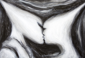 The Eternal Kiss : New symbolism, man and woman love theme, surreal realism in black and white  painting, abstract kiss. human love motif painting, surrealism, sfumato, chiaroscuro, dark, love painting, distortion, distorted, abstract human face, abstract head, abstract human figure, abstract movement, abstract surrealism, abstract contemporary love, black and white surrealism, acrylic painting #7750, 2008 | Kazuya Akimoto Art Museum