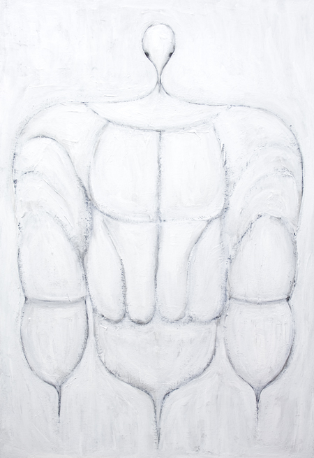Armored Osiris : New, Egyptian symbolism, contemporary Osiris portrait painting, white symbolism, white line pattern, white minimalism, abstract religious symbolism, symmetrical linear portrait, mythological god image, Egyptian myth theme, linear minimalism, acrylic painting #7768, 2008 | Kazuya Akimoto Art Museum