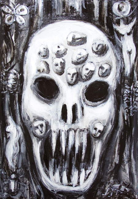The Skull annoyed with Human Acne : New, facial expression theme, black and white dark surrealism painting, eerie, strange, odd, scary, surreal skull face painting, #7977, 2008 | Kazuya Akimoto Art Museum