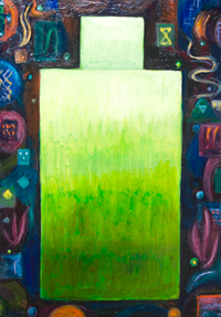The First Sermon of Buddha ( Abstract Geometric Buddha )  : New, the Dharma theme, abstract religious light symbolism painting, abstract Buddhism, abstract geometric symbolism Buddha, Asian symbolism, Hindu, Asian theme, rectangular Buddha,contemporary iconography , abstract human figure, colorful acrylic painting #7986, 2008 | Kazuya Akimoto Art Museum
