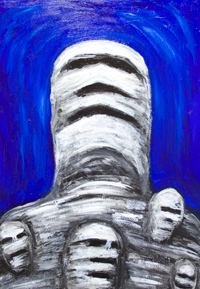 Egyptian Mummies thinking fondly of the past : New, facial expressions theme painting, Egyptian symbolism, surreal expressionism, odd surreal mummy portrait painting, naive surrealism, odd, strange, weird facial expressions, acrylic painting #8003, 2008 | Kazuya Akimoto Art Museum