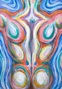 Psychedelic Colorful Male Back Muscles : New, Japanese psychedelic anatomical pop art, colorful male back muscle theme, color symbolism painting, abstract human body form,abstract human figure, male muscular body symbolism, muscular athlete figure, figurative expressionism, fluid, flow, human muscle pattern, acrylic painting #8069, 2008 | Kazuya Akimoto Art Museum