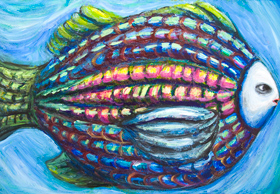 New animal fish symbolism painting, ferocious, fierce, cruel animal personification, personified animal, human face fish, colorful raw art, animal surrealism, acrylic painting #8089, 2008 | Kazuya Akimoto Art Museum