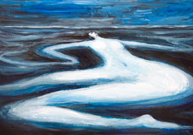 Polar Woman ― The Memory of her Icy Love  : New, dark cold abstract seascape, distortion, deforme, abstract female body figure, female body symbolism, flowing, liquid, fluid, melting woman body form, female landscape, abstract nature scene, acrylic painting #8168, 2008 | Kazuya Akimoto Art Museum