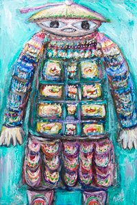 The Miraculous Mandarin ( Tribute to Bela Bartok music ) : New, contemporary ballet music theme painting, Chinese, Asian, contemporary surreal raw art, strange outsider art, contemporary surreal narrative expressionism, colorful figurative painting, elaborate decorative detailed and rough fabric pattern, impasto texture surface pattern, abstract symbolic human figure, odd strange weird human form, abstract symbolism, Asian, Chinese, acrylic painting #8292, 2009 | Kazuya Akimoto Art Museum