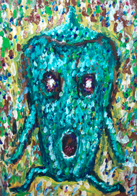 The Green Bell Pepper running away form something : New, Japanese pointillism mosaic Pop art painting, contemporary pointillism, dot brush stroke patterns, green color vegetable symbolism, botanical symbolism, personified figurative raw art, Japanese outsider art,Japanese contemporary expressionism, Japanese raw art,  #8344, 2009 | Kazuya Akimoto Art Museum