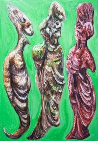 The Green Dialogue among Plato, Socrates, and his wife Xanthippe  : New surrealism abstract human portrait figure painting, surreal realism portraits, man and woman family theme, odd strange weird human portraits, surreal philosophical dialogue scene, the portraits of the Great Greek philosophers, acrylic full-length human portrait daily scene painting #8406, 2009 | Kazuya Akimoto Art Museum