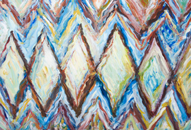 The School of Athens ('La Scuola di Atene' : the original title and theme by Raphael) : new, abstract partial variation of  Renaissance artwork by Raphael, abstract geometric expressionism figurative painting, abstract diamond pattern abstract human figures, repetition pattern, abstract portraits of Plato, Aristotle, (Michelangelo, Da Vinch,) Raphael, brush stroke pattern, abstract partial variation of a Renaissance classic by Raffaello Sanzio, acrylic painting # 8550, 2009 | Kazuya Akimoto Art Museum