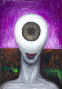 Female Cyclops :New, surrealism female monster portrait, surrealism symbolism portrait, mythical, mythological woman, mythical creature, surreal female bust, eye symbolism, Greek myth theme, contemporary surrealism painting #8593, 2009 | Kazuya Akimoto Art Museum