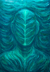 The Portrait of the Real Green Man : new botanical dark surrealism portrait painting, monotone, serene, monster, green color symbolism, acrylic painting #8690, 2009  Kazuya Akimoto Art Museum