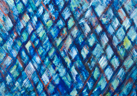 The Blue Pyramid Illusion : geometric expressionism diamond pattern painting, geometric symbolism, abstract Pyramids, architectural symbolism, Egyptian symbolism, abstract cubism painting