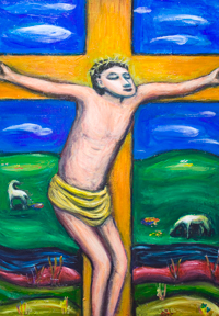 The Crucifixion Pastoral : contemporary colorful naive religious Christianity painting, the crucifixion of Jesus Christ, pastoral image, religious symbolism, Christian mythical scene, naive, colorful religious expressionist artwork, acrylic painting #9266, 2010  Kazuya Akimoto Art Museum