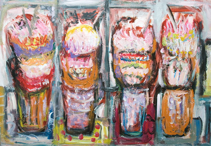 Abstract Ice Cream Sundaes on the table : abstract colorful still life painting, abstract food, desserts, abstract expressionism, abstract raw art, acrylic painting #9291, 2010 | Kazuya Akimoto Art Museum