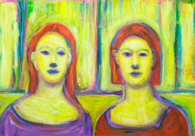 Complementary Yellow Twin Sisters : Complementary color pattern expressionism portrait painting, yellow color symbolism, abstract interior, colorful expressionism, contemporary impressionism, colorful realism, symmetrical portraits, abstract sister, abstract family, abstract realism, daily scene, acrylic painting #9322, 2010  Kazuya Akimoto Art Museum