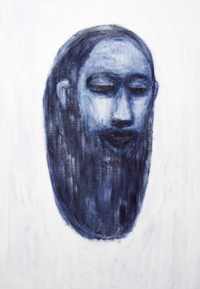 The Head of Jesus Christ : new contemporary Christianity art painting, monochrome head portrait of Christ, floating, abstract Jesus, religious surrealism, religious symbolism, acrylic painting #9346, 2010 | Kazuya Akimoto Art Museu