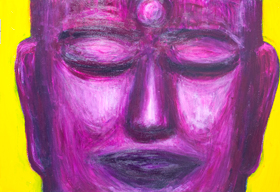 Purple Real Buddha: new pop realism Buddha icon portrait painting, abstract Buddha face in purple with half closed eyes, religious symbolism, purple color symbolism, abstract realism, face expressionism, acrylic painting #9382, 2010 | Kazuya Akimoto Art Museum