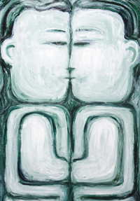 The Naive Kiss : new contemporary naive raw art man and woman portrait painting, monotone, symmetry, love, family, sculptural, abstract human forms, abstract human body forms, abstract naive family, primitive, analogous monocolor monochrome, acrylic painting #9721, 2010  Kazuya Akimoto Art Museum