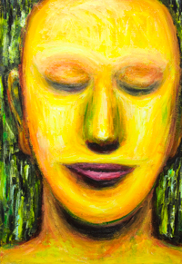 Young Buddha :contemporary Buddhism art, Buddha portrait painting, abstract colorful portrait, Asian portrait painting, yellow color symbolism, modern religious painting, #9420, 2011 : Kazuya Akimoto Art Museum