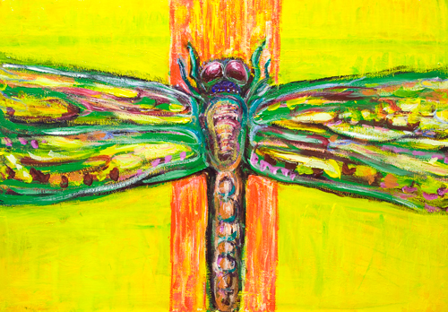 The Psychedelic Dragonfly in Paradise : colorful symmetrical insect expressionism theme painting, winged, bug, living thing, acrylic painting #9334, 2011 | Kazuya Akimoto Art Museum