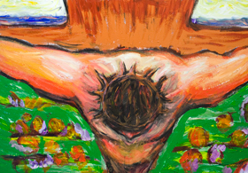 The top view Crucifixion of Jesus Christ : new expressionist colorful interpretation of Jesus crucifixion scene painting, contemporary religious expressionism artwork, modern Christianity biblical art, acrylic painting #9453, 2011 | Kazuya Akimoto Art Museum
