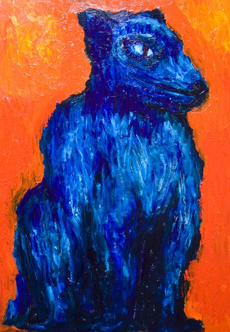 One headed Cerberus : new Greek Roman mythology literature art theme expressionist dog painting, abstract dog, hound, animal, abstract hell, complementary colors blue and red coordination, animal symbolism, abstract Hades, acrylic painting #9481, 2011 | Kazuya Akimoto Art Museum