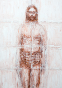 New Turin Shroud : contemporary interpretation of Jesus Christ image monotone painting, ancient legendary Jesus Christ portrait image on the cloth theme, abstract realism human figure, abstract texture, Christianity mythical controversial subject, revised ancient abstract human image, acrylic monochrome painting #9503, 2011 | Kazuya Akimoto Art Museum