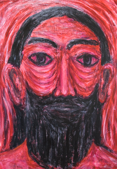 Red Jesus in Gethsemane :new contemporary Jesus portrait expressionism painting, red color monotone raw painting, facial expression, outsider art, biblical, Christianity, acrylic religious painting #9516, 2011 | Kazuya Akimoto Art Museum