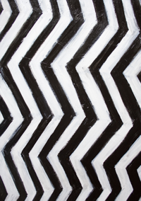 The Abstract 3D Profile Portrait of a Philosopher's Wife : New minimalism art, black and white abstract 3D portrait painting, optical striped pattern, abstract geometric face, optical illusion, simple 3D pattern, acrylic painting #9568, 2011 | Kazuya Akimoto Art Museum