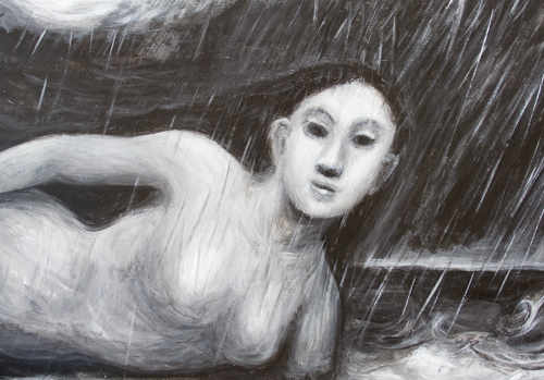 Human Rain Cloud : black and white surrealism female body weather symbolism painting, abstract surreal woman, abstract weather, surreal realism, dark night symbolism, female body symbolism, meteorological theme acrylic painting #9586, 2011 | Kazuya Akimoto Art Museum