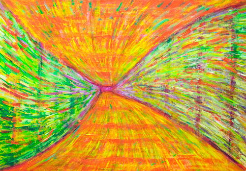 Psychedelic Metro Tunnel : abstract colorful urban scene pattern painting, pointillism pattern, psychedelic expressionism,spiral pattern, colorful expressionism, green and red, complementary colorful cityscape painting #9627, 2011 | Kazuya Akimoto Art Museum