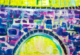 Purple Brick Bridge : architectural expressionism painting, rough brush strokes, naive expressionism, abstract artifact, acrylic painting #9646, 2011 | Kazuya Akimoto Art Museum