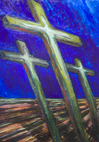 The Three Crosses : Jesus crucifixion dramatic abstract scene painting, dark and light expressionism, abstract drama, abstract human figure symbolism, line perspective, Christian myth, contemporary religious art, acrylic painting #9663, 2011  Kazuya Akimoto Art Museum