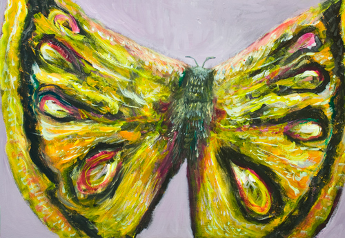 Emperor Moth : abstract animal,insect, bug symbolism painting, natural surrealism, moth flight captured in motion, abstract  wing texture pattern, acrylic artwork #9693, 2011 | Kazuya Akimoto Art Museum