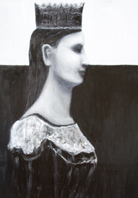"alt=""Talk to Me I am the Queen : black and white contemporary female profile portrait painting, contemporary realism, black color symbolism, female symbolism, acrylic painting #9765, 2011 