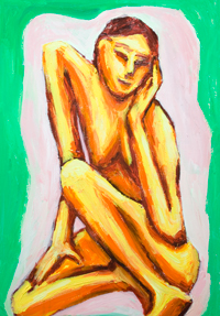 Musing Skinny Asian Woman : Asian expressionism woman portrait painting, contemplative pose, posture theme, body distortion, Asian new expressionism, female posing body, contemporary figurative painting #9782, 2011  Kazuya Akimoto Art Museum