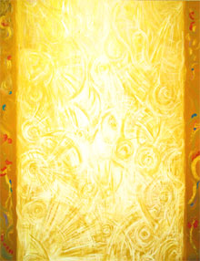 """The Column of Golden Light"": abstract light symbolism, abstract light, gold, metallic, light pattern, luminous white light, architectural symbolism, vertical"