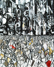 """Tokyo Metropolis"" : abstract Tokyo scene, abstract cityscape, abstract urban pattern, abstract line pattern, fragmentary pattern, abstract painting"