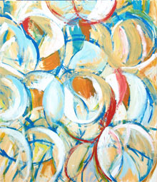 """Abstract Blue and Yellow Circle Dance"" : abstract geometric circle line pattern, dancing movement painting, abstract motion, abstract geometric symbolism painting"
