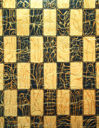 Weft and Checkered Patttern: Japanese, traditional, geometric, black and gold, checkered pattern, acrylic painting 2004