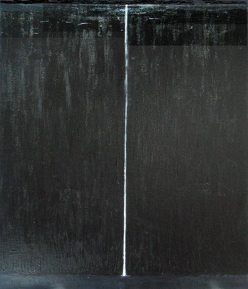 """Black Waterfall"": abstract natural scene, black landscape, abstract natural symbolism, waterfall symbolism, black minimalism painting"