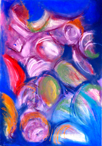Abstract Pastel Fruits : abstract impressionism colorful fruit abstraction pattern painting, lyrical abstraction, colorful still life, abstract fruits, ambiguous colorful suggestive elements, impromptu, improvised pastel strokes, abstract pastel painting pas030, 2003 | Kazuya Akimoto Art Museum