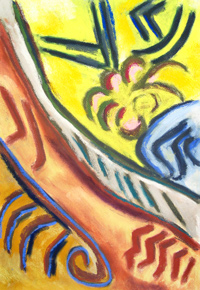 Peach Flower:batanical, abstract think line pattern pastel painting 2003