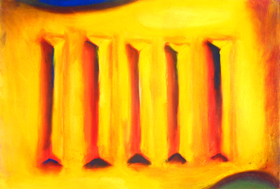 Missing Cuneiform Character : abstract symbolism, five bars, 3d, color perspective, symbolic yellow, pastel painting pas090, 2003 | Kazuya Akimoto Art Museum